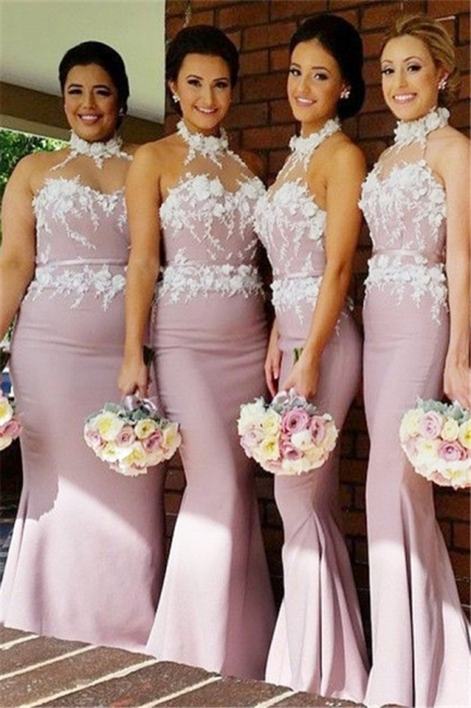 New Arrival Mermaid Halter Long Bridesmaid Dress High Collar  Plus Size Wedding dress