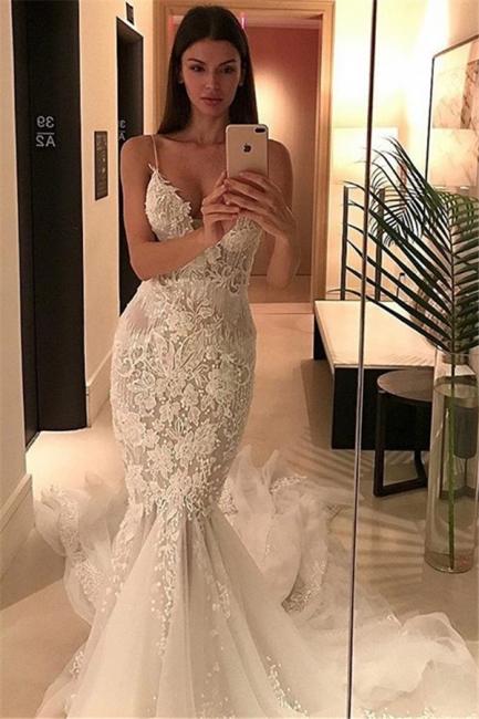 Charming Spaghetti-Strap Mermaid Wedding  Dress Lace Zipper Button Tulle Bridal Gowns
