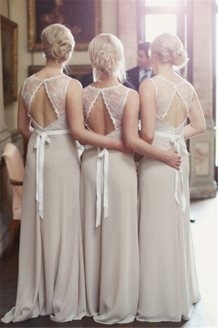 Elegant Lace Scoop Chiffon Bridesmaid Dresses With Sweep Train For Wedding Party