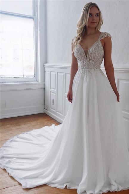 Unique Straps Beaded Appliques A-Line Wedding Dresses | Bridal Gowns Online