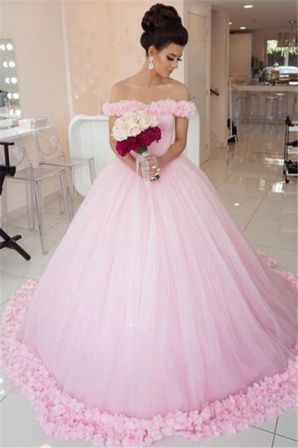 Chic Pink Off The Shoulder Evening Dresses  Ball Gown Flowers Puffy Wedding Dresses
