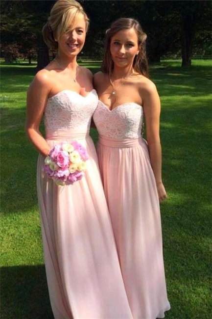 Sweetheart Ruched Lace Appliques Chiffon Bridesmaid Prom Dresses
