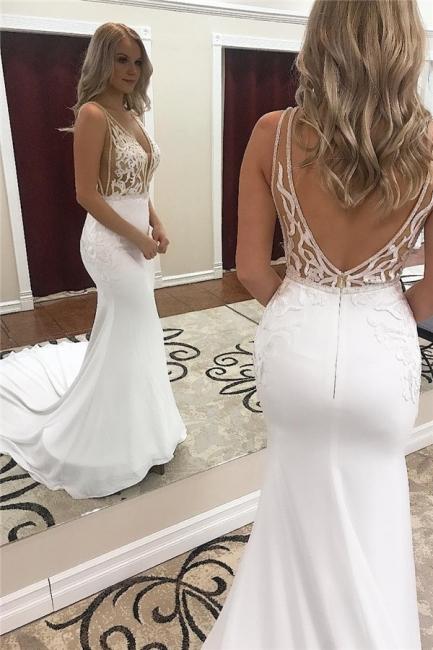 Cheap Straps Appliques V-Neck Mermaid Wedding Dresses | Bridal Gowns Online