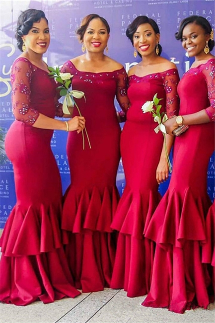 Beadings Tiered Red Off-the-Shoulder Mermaid Long-Sleeves Elegant Bridesmaid Dress