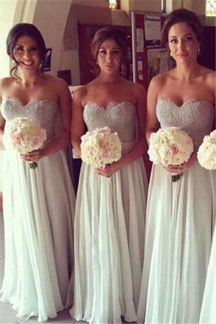 A-Line Sweerheart Chiffon Long Bridesmaid Dresses Simple Floor Length Wedding Dress