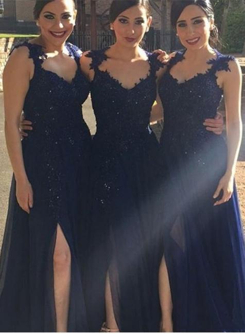 Side-Slit Lace-Appliques Navy-Blue A-line Chiffon Bridesmaid Dresses BA4993