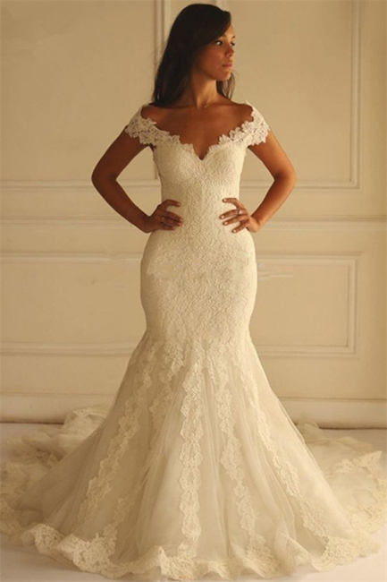 Elegant Off-The-Shoulder Mermaid Lace-Applique Wedding Dresses