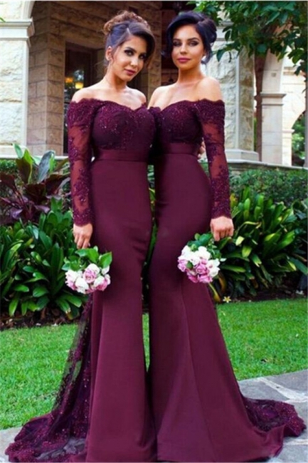 Lace Appliques Long Sleeve  Evening Dress Mermaid Beads Off-the-shoulder Bridesmaid Dress  BA3704