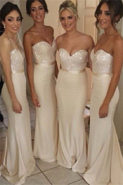 Ivory Bridesmaid Dresses Sweetheart Sequins Sexy  Bridesmaid Dresses Online