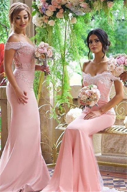 Off-the-Shoulder Blushing-Pink Elegant Long Lace-Appliques Bridesmaid Dresses