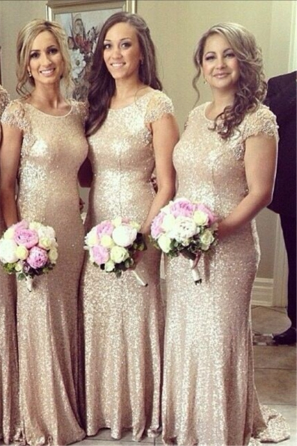 Sexy Sequined Scoop Party Dress  Cap Sleeve Sweep Train Beading Bridesmaid Dresses