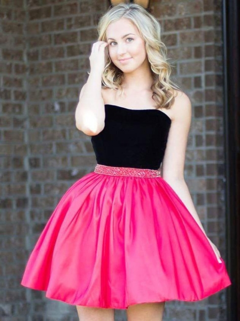 Strapless Short Mini A-Line Homecoming Dress with Beadings