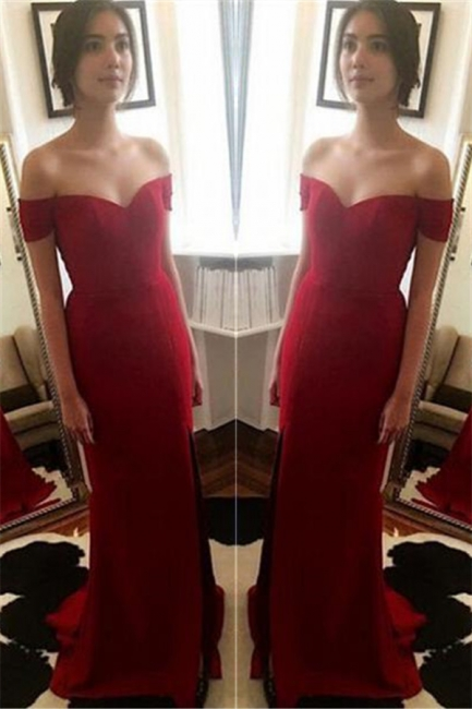Red Off The Shoulder Prom Dresses   Evening Dress for Bridesmaid with Split BA3543
