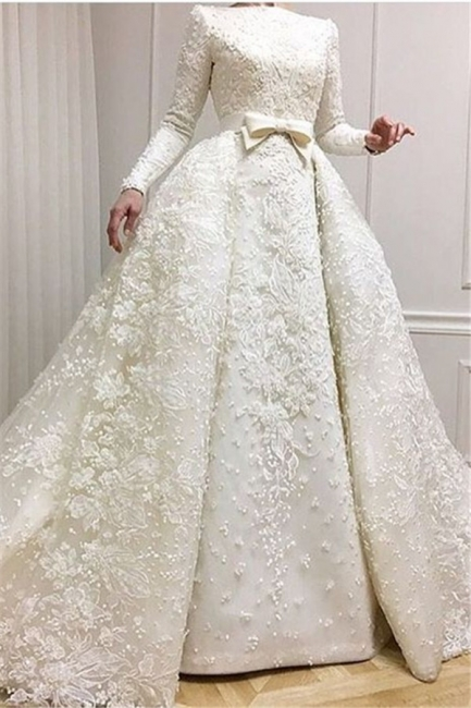 Luxury Beaded Lace-Applique Long-Sleeves Jewel Ball-Gown Wedding Dresses with Over-Skirt CD0071