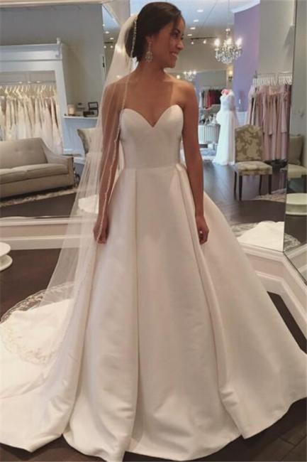 Sleeveless Simple A-line Sweep-Train White Sweetheart Wedding Dress