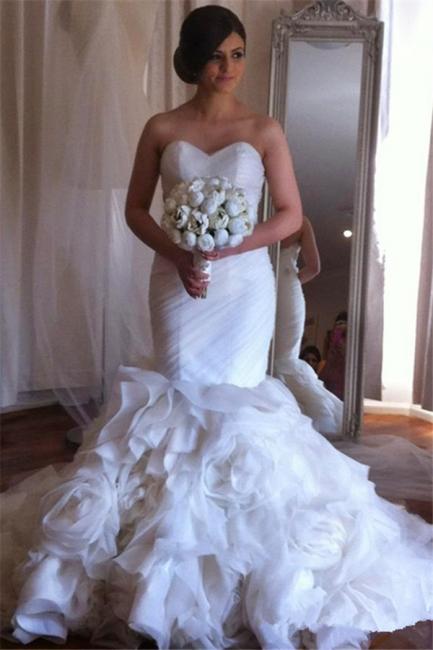 Elegant  Sweetheart Mermaid Wedding Dresses Ruffles Floral Beaded Bridal Gowns BO2676