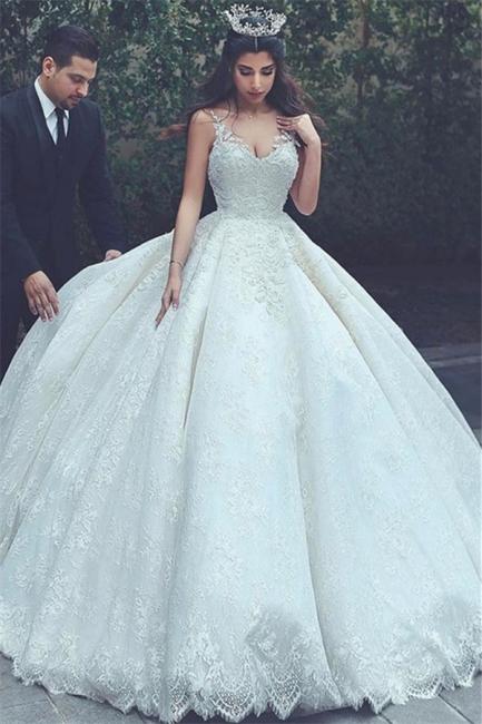 Sleeveless Appliques Popular Bride Dress  V-neck Lace Latest Ball Gown Wedding Dress