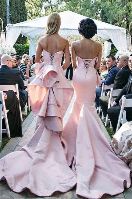 Pink Ruffles Mermaid Long Train  Bridesmaid Dresses