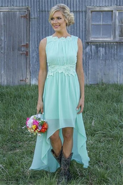 New Arrival Chiffon A-Line  Bridesmaid Dress Lace Applique Hi-Lo Wedding Party Dress
