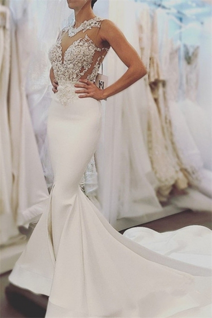 Elegant Mermaid Sleeveless Wedding Dresses  |  Open Back Lace Wedding Dress Online