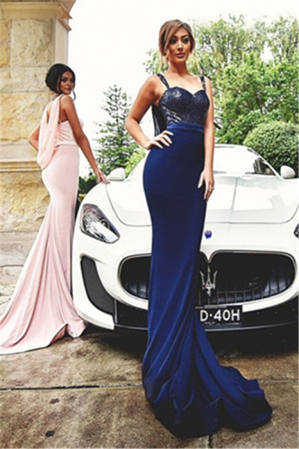 Straps Sequined Mermaid Dresses Maid of Honour Sleeveless Sexy Bridesmaid Dress