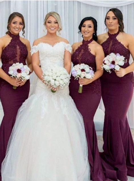 Maroon Halter Appliques Bridesmaid Dresses   Mermaid Sleeveless Wedding Party Dress