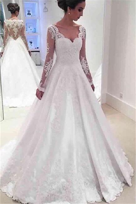 Long Sleeve V-neck  Wedding Dresses Online Sheer Lace Back Bridal Dresses