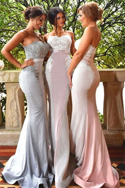 Lace Sweep Train Sleeveless Sweetheart Evening Gowns  Sexy Mermaid Bridesmaid Dress