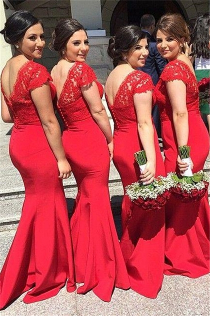Red V-Neck Sexy Mermaid Long Bridesmaid Dresses  Lace Plus Size Wedding Dress for Women