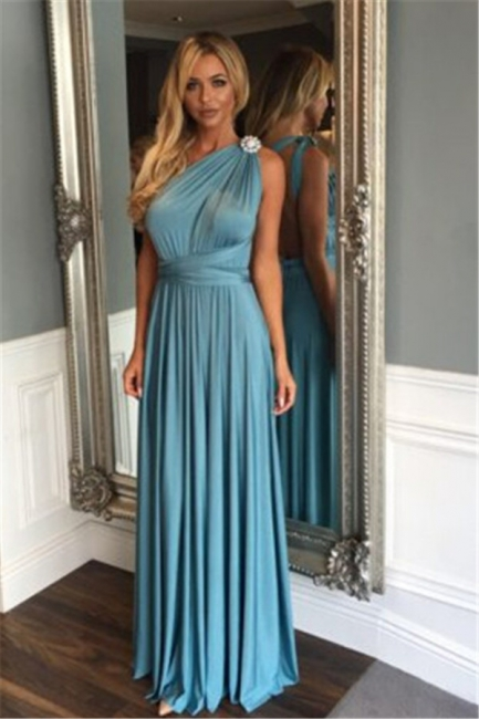 Modest A-line One Shoulder Long Evening Gowns Crystals Sleeveless  Bridesmaid Dresses