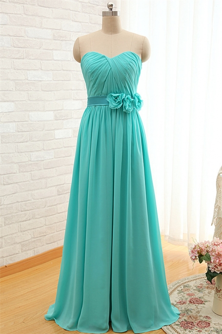 Sweetheart Blue Ruffles Chiffon Bridesmaid Dress Popular  Plus Size  Long Wedding Dress