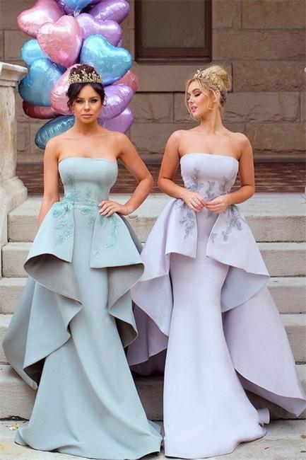 Elegant Applique Long Mermaid Strapless Bridesmaid Dress with Detachable Train