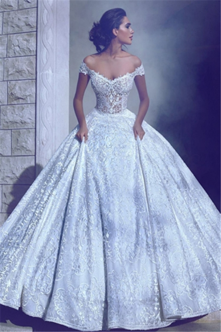 Glamorous Ball-Gown Off-The-Shoulder Wedding Dresses | Long Lace Bridal Gowns