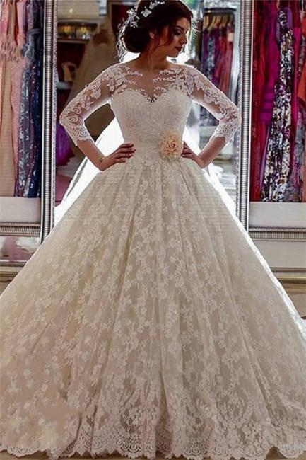 Sheer Church Train Lace  Ball Gown Bride Dress Sleeves Long Vintage Illusion Arabic Wedding Dress