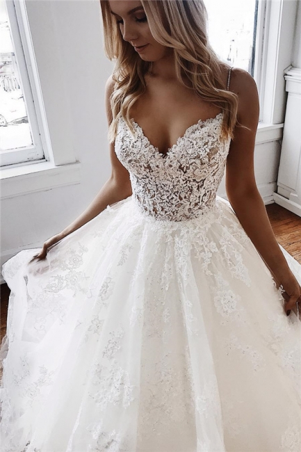 Affordable Spaghetti-Straps Lace Appliques A-Line Wedding Dresses | Bridal Gowns Online