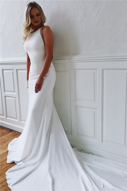 Alluring Jewel Mermaid White Chiffon Wedding Dresses Sleeveless V-Back Rhinestones Bridal Gowns On Sale