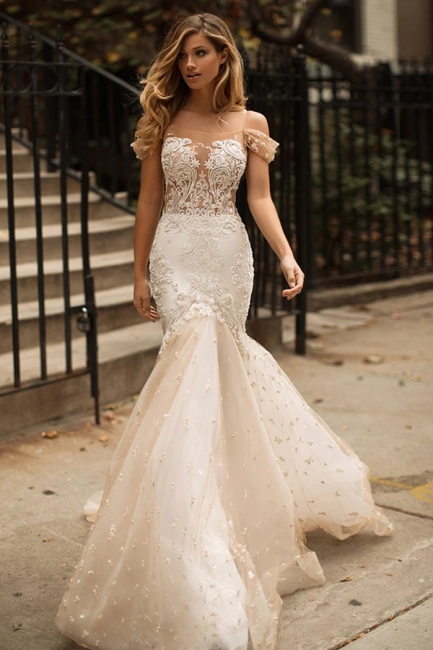 Mermaid Off-the-Shoulder Wedding Dress | Tulle Appliques Bridal Gowns WW0104