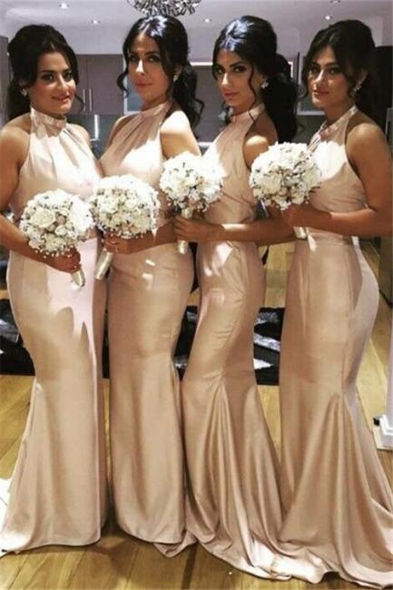 Elegant Halter Simple Long Bridesmaid Dress New Arrival Plus Size Wedding Party Dress