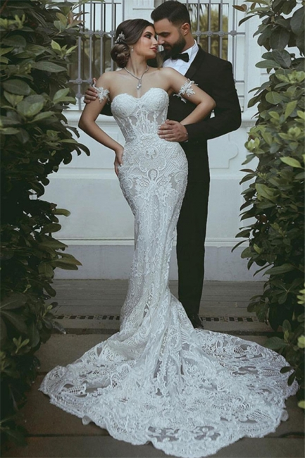 Mermaid Lace Wedding Dress Cheap | Sexy Court Train Sweetheart Bridal Gowns with Sleeve Decorations