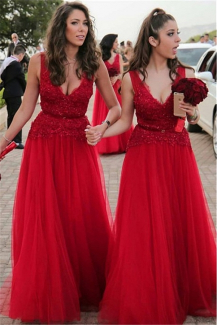 V-neck Beads Appliques Red Bridesmaid Dresses Sexy | Tulle  Long Bridesmaid Dress Online