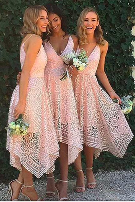Sleeveless Newest Spaghetti Strap Tea Length Lace Bridesmaid Dress