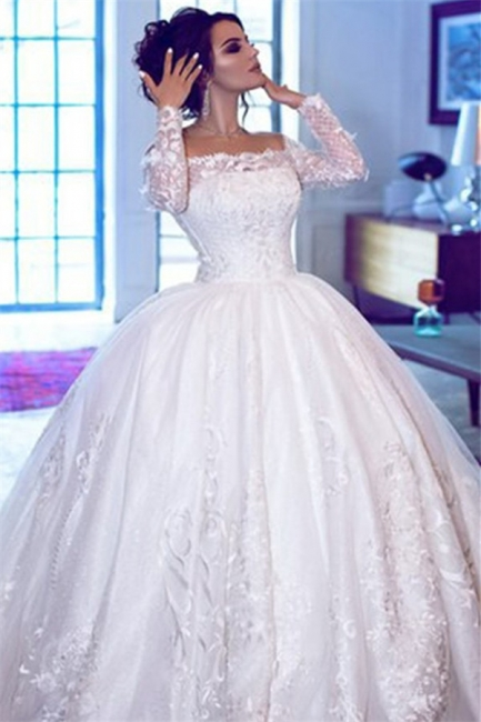 Glamorous Off Shoulder Long Sleeves Wedding Dresses    Lace Brial Ball Gowns