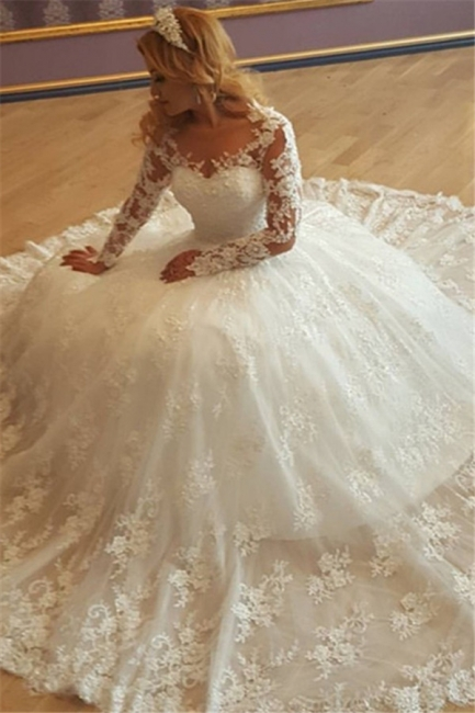 Appliques Vintage Lace Ball Gown Long Sleeves Bride Dress Gorgeous Wedding Gowns  BA7299