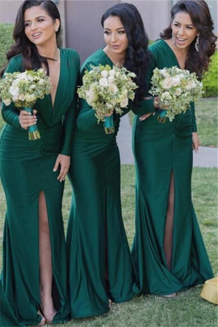 Long-Sleeves Sexy Mermaid Green V-Neck Front-Split Bridesmaid Dresses