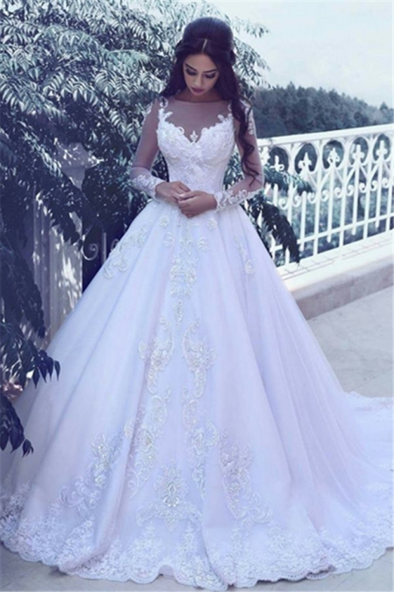 Elegant Tulle Appliques Long Sleeves Wedding Dresses  Bridal Ball Gowns