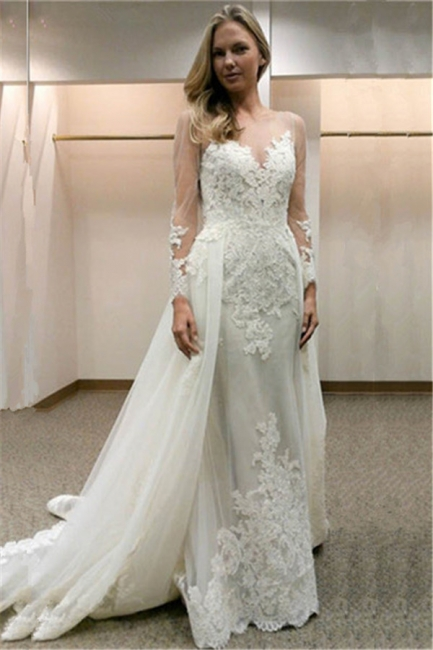 Open-Back Simple Appliques Sheath Long-Sleeves Tulle Wedding Dress