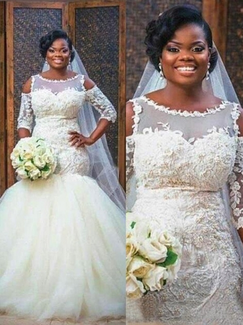 Mermaid Lace Appliques Half Sleeves Bridal Dresses Tulle Bottom Popular   Wedding Dress
