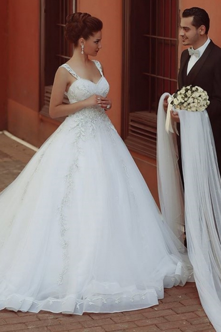 Beautiful Spaghetti Strap Crystal Ball Gown Wedding Dress New Arrival Lace Elegant Bridal Gowns