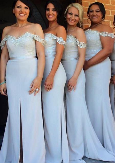 Lace Appliques Off-the-shoulder  Bridesmaid Dresses  Wedding Party Dress with Front Slit BA3346