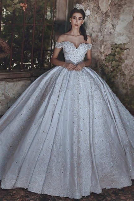 New Arrival Off-the-Shoulder Lace Wedding Dresses  Crystal Lace-Up Ball Bridal Gowns